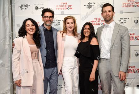 """Producer Elena Gaby, left, director Judd Ehrlich, Executive producer Paula Weinstein, executive producer Nina Choudry and producer Aidan Tumas attend """"The Price of Freedom"""" premiere during the 20th Tribeca Festival at Hudson Yards, in New York"""