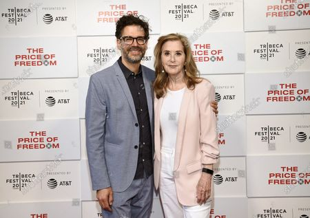 """Director Judd Ehrlich, left, and Tribeca Studios executive producer Paula Weinstein pose together at """"The Price of Freedom"""" premiere during the 20th Tribeca Festival at Hudson Yards, in New York"""