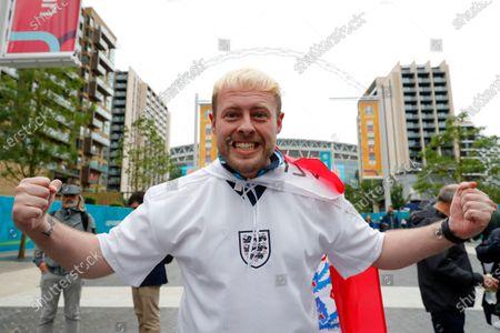 England fan with a Paul Gascoigne Euro 96 bleached hair style outside Wembley Stadium; Wembley Stadium, London, England; 2021 European Football Championships, England versus Scotland.