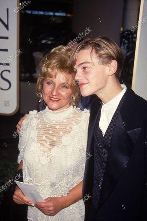 Actor Leonardo DiCaprio (R) w. mother Irmelin at Golden Globes.