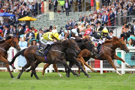 Perfect Power and Paul Hanagan [yellow colours] just gets up to beat Lucci [centre] and Project Dante [far] in the Norfolk Stakes at Royal Ascot. 17/6/2021 Pic Steve Davies