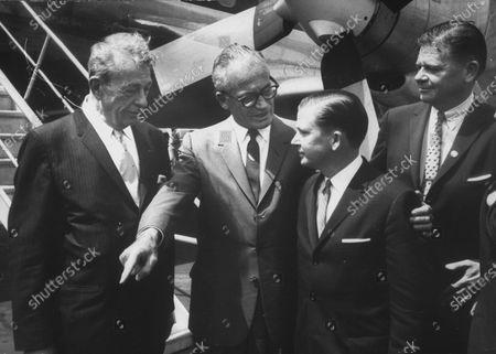 Stock Photo of Sen. Everett M. Dickerson (L), Sen. Barry M. Goldwater (2L), Sen. John G. Tower (C), and Thruston B. Morton upon Tower's arrival.