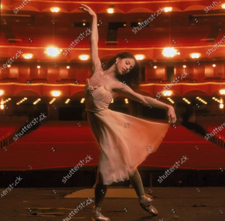 Promotional portrait of Argentinian ballet dancer Paloma Herrera as she rehearses on stage at the Metropolitan Opera House (the Met), New York, New York, 1996. In 1995, Herrera became the principal dancer for the American Ballet Theatre, and the youngest one in their history.