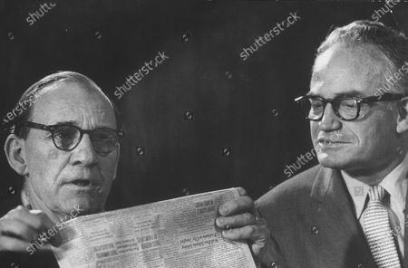 Sen. John McClellan and Sen. Barry Goldwater (R), during Senate Comm. hearing regarding the Kohler strike.