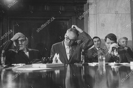Senators John McClellan (L), Barry Goldwater (C), and Robert Kennedy (R), during Senate Comm. hearing regarding the Kohler strike.