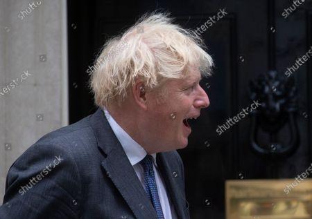 Stock Photo of Prime Minister, Boris Johnson, meets Salman, Crown Prince of Bahrain at 10 Downing Street. Prince Salman bin Hamad bin Isa Al Khalifa is also the Prime Minister of Bahrain.