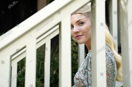 """Amanda Kloots, co-host of the daytime talk show """"The Talk"""" and co-author of the new memoir """"Live Your Life: My Story of Loving and Losing Nick Cordero,"""" poses for a portrait at home in Los Angeles on"""