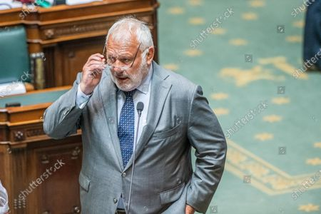 Stock Picture of Independent Jean-Marie Dedecker pictured during a plenary session of the chamber at the federal parliament in Brussels, Thursday 17 June 2021.