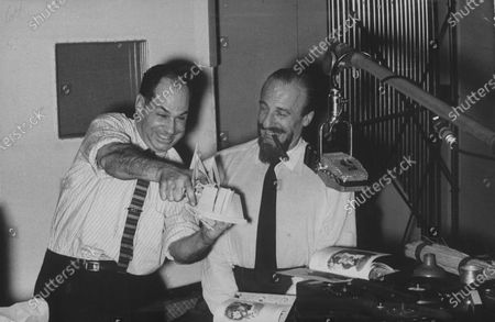 Sound engineer Ralph F. Curtiss (L) creating sound effects for fairytale books with music director Mitch Miller (R) of Columbia Records.