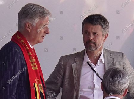 Danish Crown Prince Frederik (R) chats with King Philippe of Belgium prior to the UEFA EURO 2020 group B preliminary round soccer match between Denmark and Belgium in Copenhagen, Denmark, 17 June 2021.