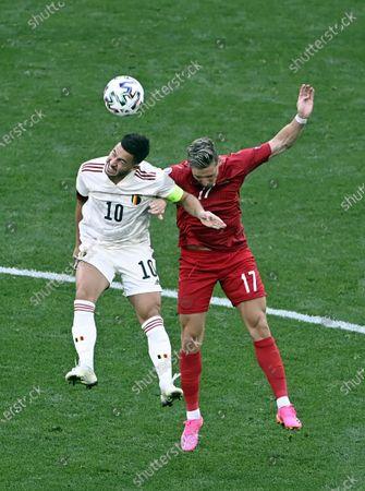 Belgium's Eden Hazard and Danish Jens Stryger Larsen fight for the ball during a second game of the group stage (group B) at UEFA Euro 2020 championships between Belgian national soccer team Red Devils and Denmark, in Copenhagen, Denmark, Thursday 17 June 2021.