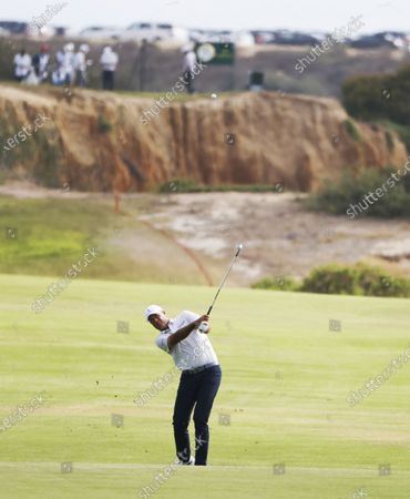 Stewart Cink of the US hits from the fairway on the seventeenth hole during the first round of the 2021 US Open golf tournament on the South Course of the Torrey Pines Golf Course in San Diego, California, USA, 17 June 2021.