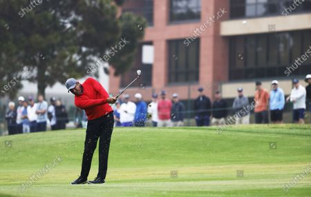 Jhonattan Vegas of Venezuela hits from the fairway on the tenth hole during the first round of the 2021 US Open golf tournament on the South Course of the Torrey Pines Golf Course in San Diego, California, USA, 17 June 2021.