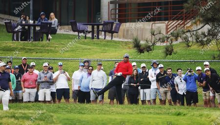 Jhonattan Vegas of Venezuela reacts to his shot on the eleventh hole during the first round of the 2021 US Open golf tournament on the South Course of the Torrey Pines Golf Course in San Diego, California, USA, 17 June 2021.