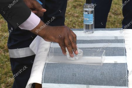 Stock Photo of A 1098 carat gem diamond unearthed by the Botswana Government and De Beers joint venture mining company Debswana, put on display at the Botswana State House to show to the President of Botswana Mokgweetsi Masisi, in Gaborone, Botswana, 16 June 2021 (Issued 17 June 2021). The stone measuring 73 by 52 by 27mm was found on 01 June 2021 and is the world's third largest of its kind according to Debswana mines.