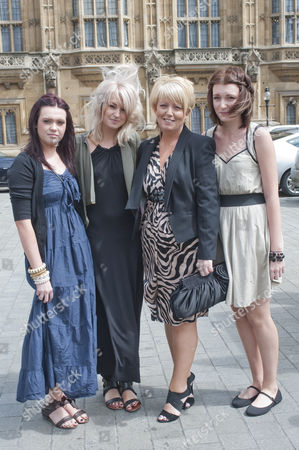 Baroness Helen Newlove of Warrington leaving the House of Lords with her three daughters Danielle, Zoe and Amy