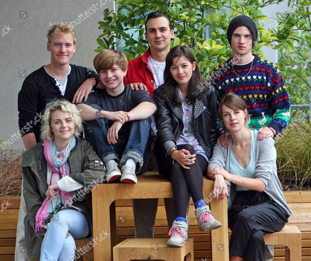 Cast Of Punk A New Production At The Lyric Hammersmith. Back: Nicholas Banks Henry Lloyd Hughes And Tom Sturridge Front: Tanya Gleason Harry Mcentire Sophie Wu And Lily Cahill