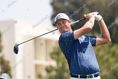 Harris English of the USA, tees off from the eighteenth hole during the first day of competition at the 121st US Open Championship at Torrey Pines Golf Course in San Diego, California on Thursday, June 17, 2021.