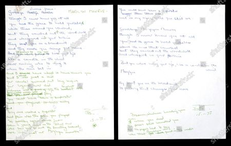 The original working lyrics for Sir Elton John's Candle in the Wind have been sold for £70,000.  The famous song that was dedicated to Marilyn Monroe and then later adapted for Princess Diana, was written by British songwriter Bernie Taupin, the Rocketman's key collaborator, in January 1973.   He wrote the words to it in blue and green felt-tip pen and crossed out and re-wrote several lines throughout.  Some of the words that appear on the original music sheet differ to the final lyrics recorded by Sir Elton for his album Goodbye Yellow Brick Road that was released in October 1973.