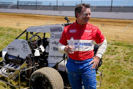 Jeff Gordon, a five-time winner of the Brickyard 400 and four-time NASCAR Cup Series champion, talks about driving a USAC midget car after taking some exhibition laps on the dirt track in the infield at Indianapolis Motor Speedway in Indianapolis