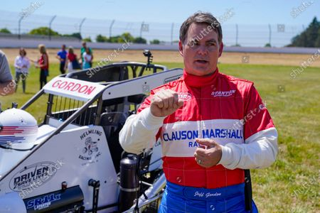 Jeff Gordon, a five-time winner of the Brickyard 400 and four-time NASCAR Cup Series champion, talks about driving a USAC midget car before taking some exhibition laps on the dirt track in the infield at Indianapolis Motor Speedway in Indianapolis