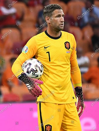 Goalkeeper Maarten Stekelenburg of the Netherlands reacts during the UEFA EURO 2020 preliminary round group C soccer match between the Netherlands and Austria in Amsterdam, Netherlands, 17 June 2021.