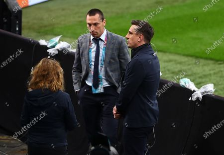 Scott Brown and Gary Neville working for TV pitchside