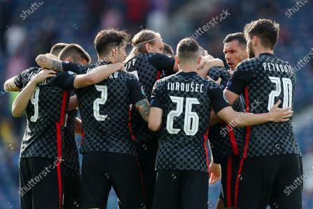 Croatia players celebrate the equalising goal scored by Ivan Perisic