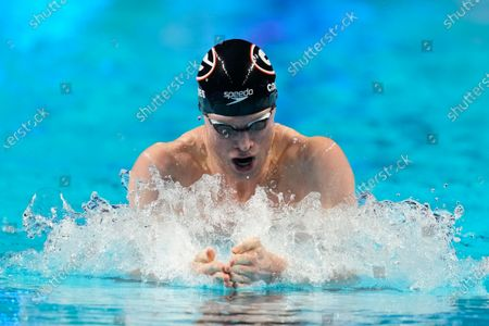 Stock Image of Kevin Cordes competes in a semifinal men's 200-meter breaststroke heat during wave 2 of the U.S. Olympic Swim Trials, in Omaha, Neb