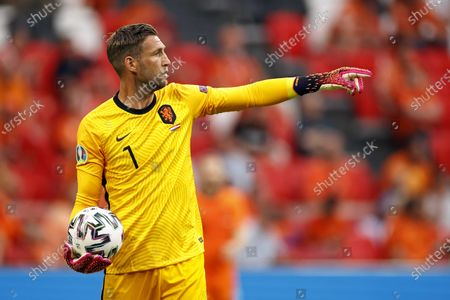 Goalkeeper Maarten Stekelenburg in action  during the UEFA EURO 2020 preliminary round group C soccer match between the Netherlands and Austria in Amsterdam, Netherlands, 17 June 2021.