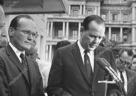Stock Image of Appointed Exec. Sec'y of Special Committee of Nat'l Security council McGeorge Bundy (2L) with Press Sec'y. George Christian (R) during a press interview re: Arab-Israeli crisis.