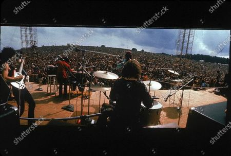 Editorial picture of Santana on stage At Woodstock, Bethel, New York, USA