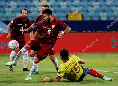 Mateus Uribe (R) of Colombia in action against Junior Moreno (L) of Venezuela during the Copa America group B soccer match between Colombia and Venezuela at the Pedro Ludovico Teixeira Olympic Stadium, in Goiania, Brazil, 17 June 2021.