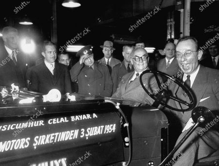 Turkish President, Celal Bayar (L), and Edgar F. Kaiser (R) at Willy's plant, during Bayar's tour of the US.