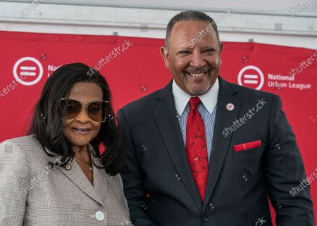 Assembly Member Inez Dickens and NUL President & CEO Marc Morial construction kickoff for National Urban League Empowerment Center in Harlem. New center will include Urban Civil Rights Museum, NAL Headquarters, National Urban League Institute for Race, Equity and Justice, 170 units of affordable housing, office space for non-profits organizations including One Hundred Black Men of New York, United Negro College Fund and Jazzmobile, and retail space with Target and Trader Joe's as anchors.