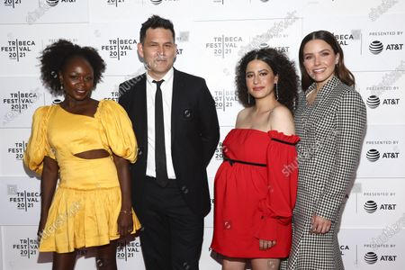 """Zainab Jah, from left, John Lee, Ilana Glazer and Sophia Bush attend the premiere for """"False Positive"""" during the 20th Tribeca Festival at The Waterfront Plaza at Brookfield Place, in New York"""