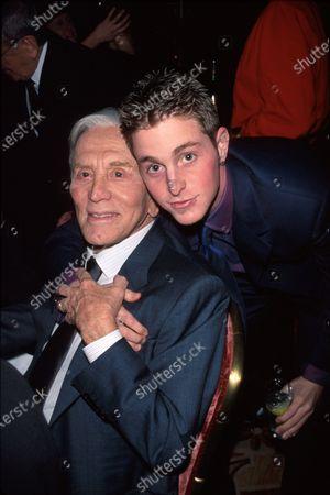 (L-R) Actor Kirk Douglas and grandson Cameron at film premiere of Kirk's Diamonds.