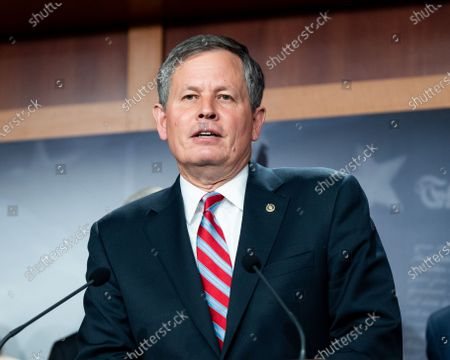 U.S. Senator Steve Daines (R-MT) speaks at a press conference about the S.1, For The People Act.
