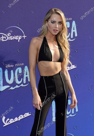"""Actor Anne Winters poses at the Los Angeles premiere of the film """"Luca"""" at the El Capitan Theater"""