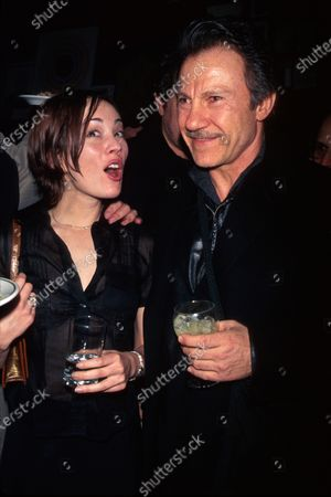 Actors Natasha Wagner and Harvey Keitel at party for her film Two Girls and a Guy.