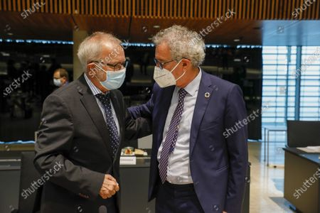 Stock Image of European Investement Bank (EIB) President Werner Hoyer (L) and Luxembourg's Finance Minister Pierre Gramegna (R) at the start of the EIB Board of Governors Annual Meeting prior to the Ecofin Council meeting in Luxembourg, 18 June 2021. EU economic and finance ministers will hold debates on the economic recovery in Europe, VAT issues and the state of play of the banking union.