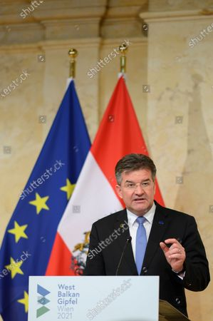 Miroslav Lajcak, EU Special Representative for the Pristina-Belgrade Dialogue, attends a press conference during a Western Balkan summit at the Austrian Federal Chancellery in Vienna, Austria, 18 June 2021.
