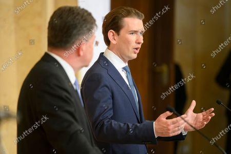 Austrian Chancellor Sebastian Kurz (R) and Miroslav Lajcak (L), EU Special Representative for the Pristina-Belgrade Dialogue, attend a press conference during a Western Balkan summit at the Austrian Federal Chancellery in Vienna, Austria, 18 June 2021.