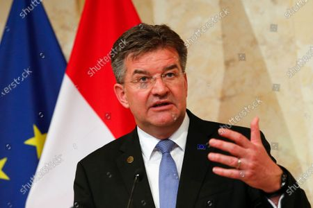 Miroslav Lajcak, EU Special Representative for the Belgrade- Pristina Dialogue attends a news conference with Austria's Chancellor Sebastian Kurz, and talks about the results of a Western Balkans conference in Vienna, Austria