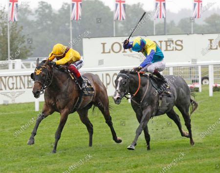 Dragon Symbol and Oisin Murphy [right] and Campanelle and Frankie Dettori battle out the finish of the Commonwealth Cup at Royal Ascot before Campanelle won the race in the stewrads' room. 18/6/2021 Pic Steve Davies