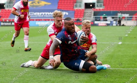 Stock Photo of Nathan Hughes of Bristol Bears, Louis Lynagh & Tyrone Green of Harlequins