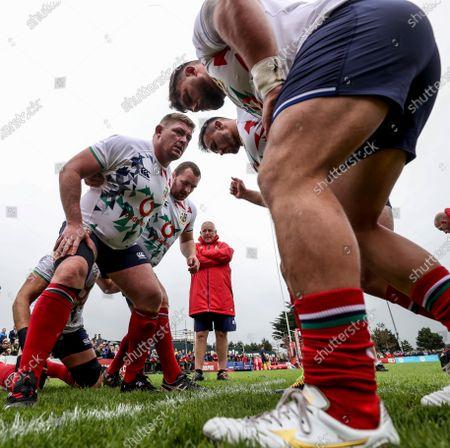 British & Irish Lions Squad Training, Jersey, United Kingdom 18/6/2021. Tadhg Furlong, Ken Owens, Ronan Kelleher and Rory Sutherland