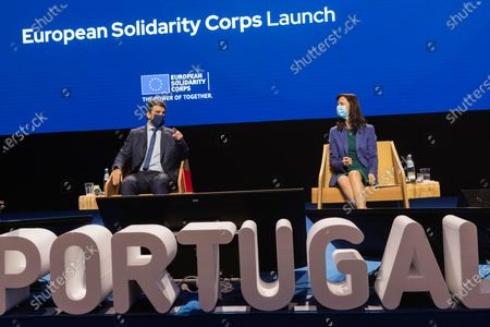 Portuguese Minister for Education Tiago Brandao Rodrigues (L) flanked by European Union Commissioner for Innovation Research Culture Education and Youth Mariya Gabriel (R) attend the European Solidarity Corps Launch in Viana do Castelo Cultural Centre, Portugal, 18 June 2021.