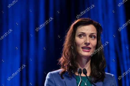 European Union Commissioner for Innovation Research Culture Education and Youth Mariya Gabriel delivers a speech during the European Solidarity Corps Launch in Viana do Castelo Cultural Centre, Portugal, 18 June 2021.
