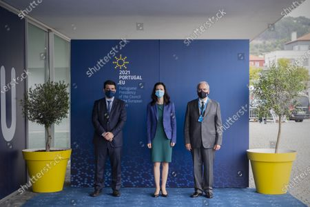 Portuguese Minister for Education Tiago Brandao Rodrigues (L) flanked by European Union Commissioner for Innovation Research Culture Education and Youth Mariya Gabriel (C) and Jose Maria Costa, Mayor of Viana do Castelo (R), pose for a picture prior to the European Solidarity Corps Launch, in Viana do Castelo Cultural Centre, Portugal, 18 June 2021.